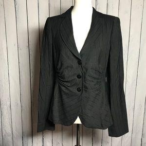 Armani Collezioni Black Pinstriped Blazer